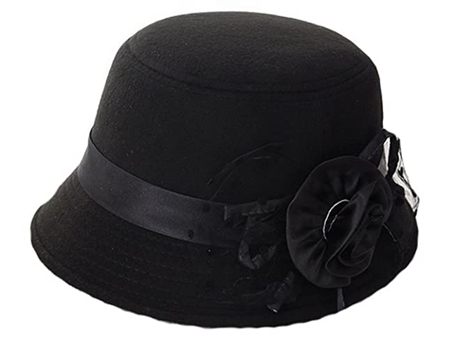 Women Wool Felt Church Cloche Cap Bucket Top Hat Bowler Hats with Flower  Band (Black 14d936f12bce