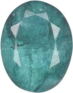 Real Gems 6.50 Piedras Preciosas Sueltas 100% Naturales certificadas por CTS, Piedras Preciosas de Talla Ovalada Verde Esmeralda facetada