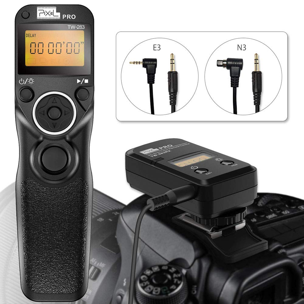 Remote Shutter Release for Canon Eos, PIXEL 2.4G Wireless Shutter Release Timer Remote Control E3/N3 for Canon 7D Series, 6D Series, 5D Series, 50D, 40D, 30D, 10D, 600D, 500D, 400D by PIXEL