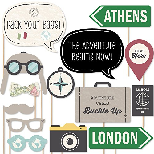 Big Dot of Happiness World Awaits - Travel Party Photo Booth Props Kit - 20 Count]()