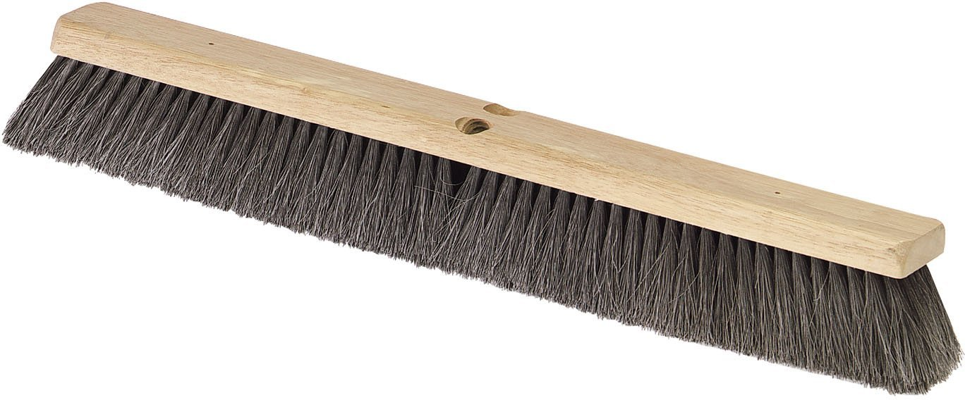 Carlisle 364341803 Hardwood Block Fine Floor Sweep, Pure Horsehair Bristles, 2.88'' Bristle Trim, 18'' Length, Black