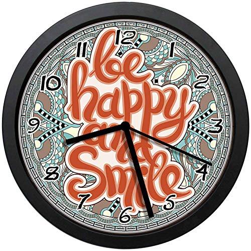 - BCWAYGOD Be Happy and Smile Saying on Paisley Mandala Pattern Icon Round 12