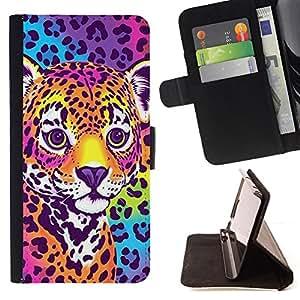- Queen Pattern FOR Samsung Galaxy Core Prime /La identificaci????n del cr????dito ranuras para tarjetas tir????n de la caja Cartera de cuero cubie - cheetah panther blue electric