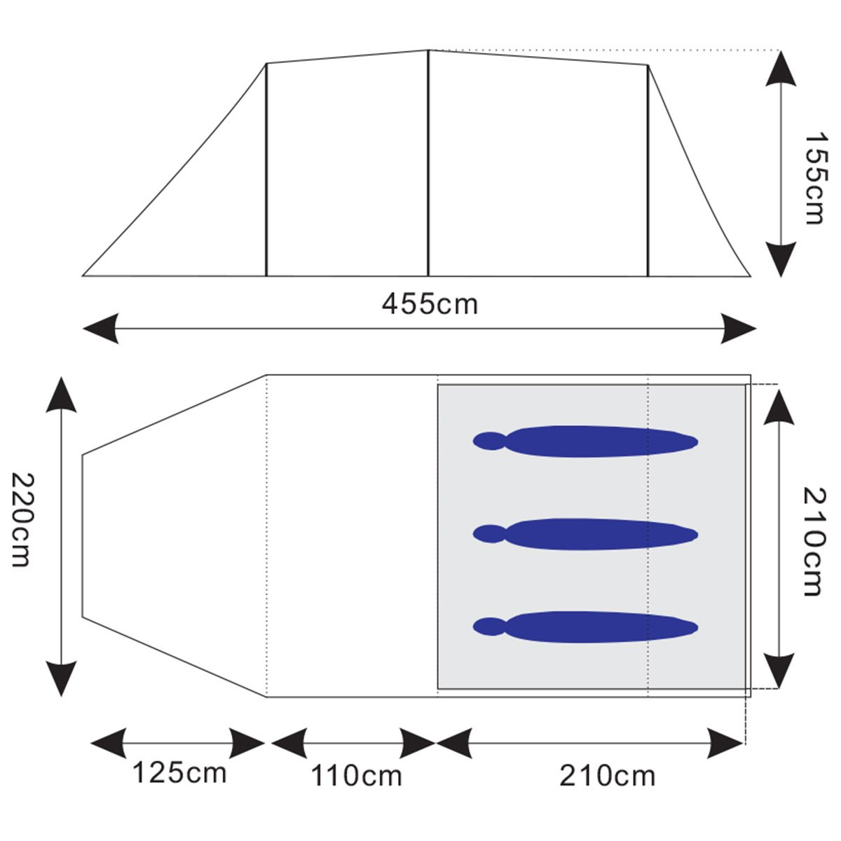 Skandika Fauske 3 Wassersäule Personen Trekking-Zelt 3000mm Wassersäule 3 2d0ca4