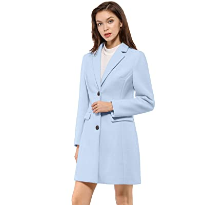 Allegra K Women's Notched Lapel Single Breasted Outwear Winter Coat: Clothing