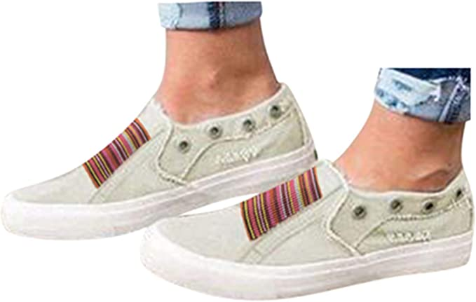 Womens Canvas Shoes Flat Sports Running