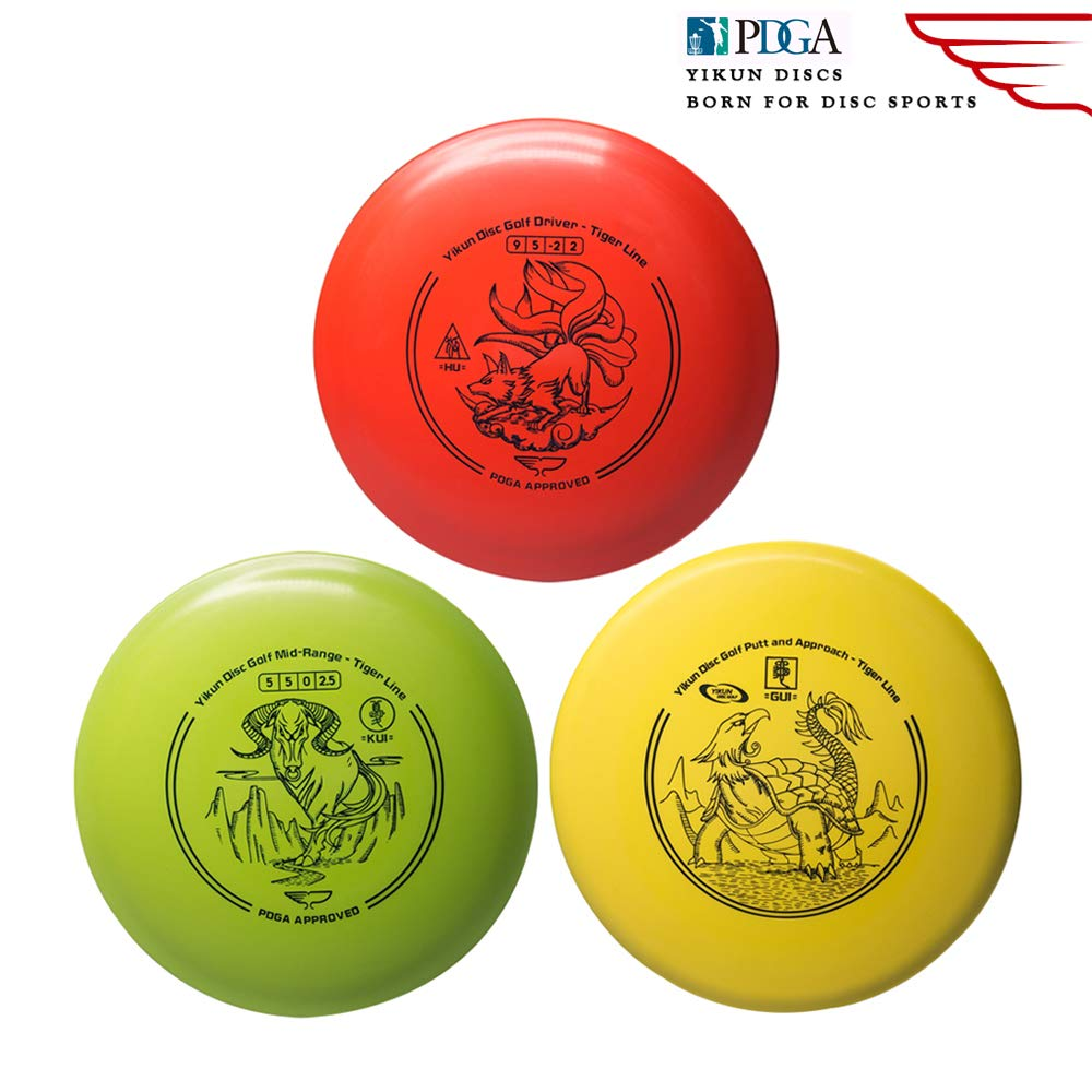 Yikun Discs Professional Disc Golf Set 3 in 1|Includes Driver,Mid-Range and Putter|165-176g|Perfect Outdoor Games for Kids and Adults by yikundiscs