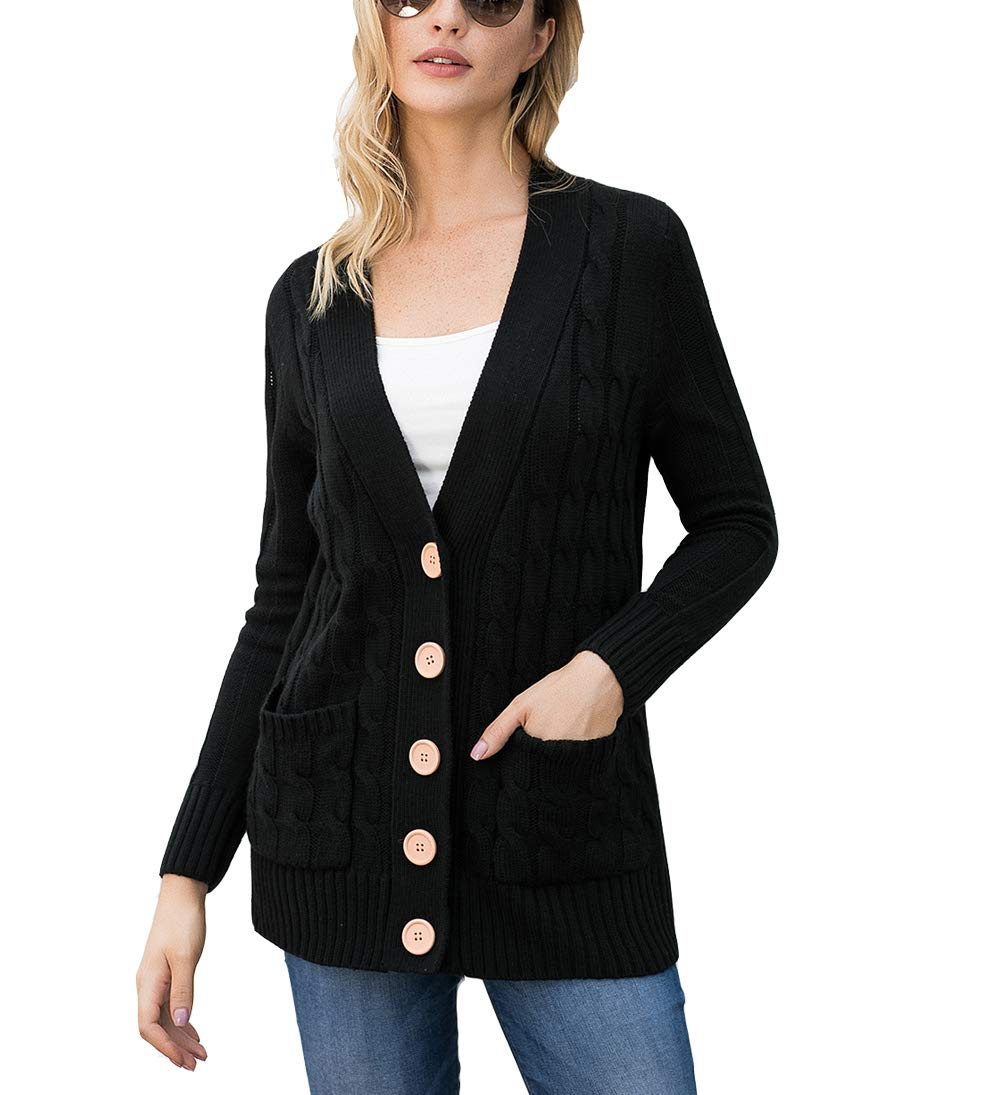 Eternatastic Womens Knit Cardigans Button Cable Sweater Coat Pullover Top XXL Black