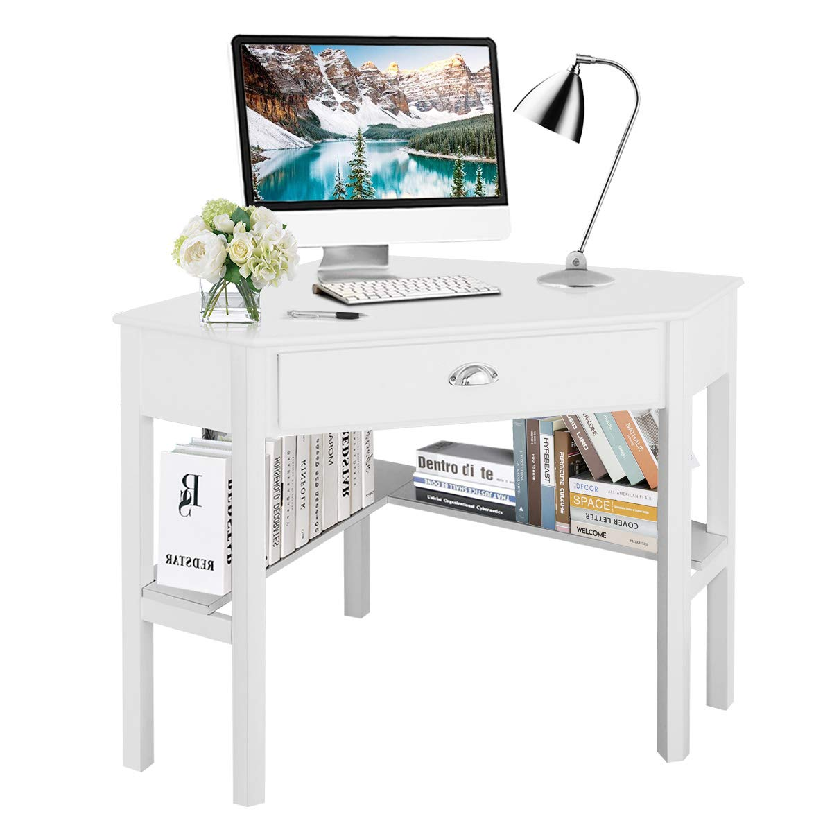 Tangkula Corner Desk, Corner Computer Desk, Wood Compact Home Office Desk, Laptop PC Table Writing Study Table, Workstation with Storage Drawer & Shelves by Tangkula