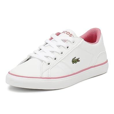e5c41b081b06e7 Lacoste Kids White Pink Lerond 218 2 Trainers-UK 1  Amazon.co.uk ...