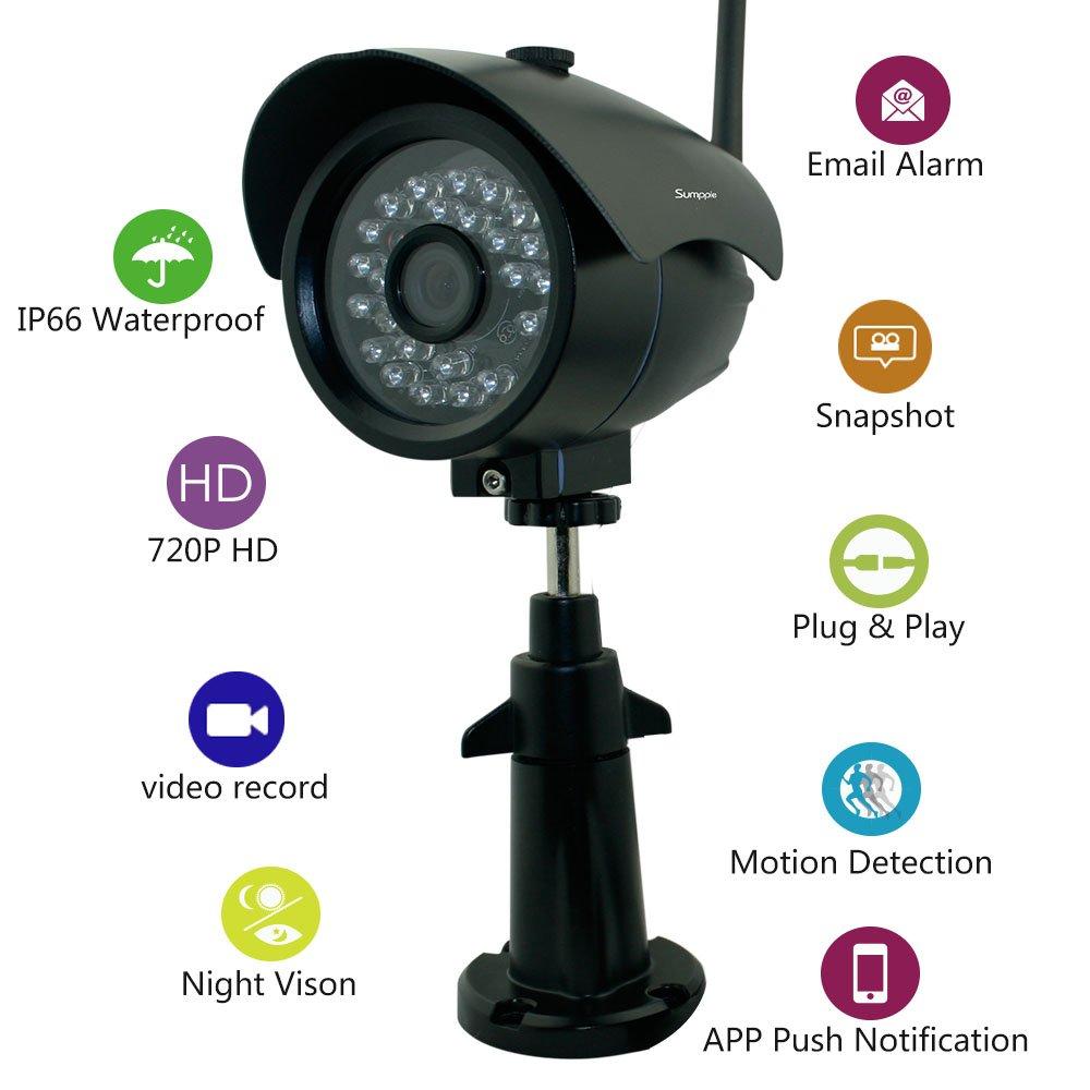 Sumpple ワイヤレス無線WiFi/有線 1280x720P 100万画素 デジタルビデオ 屋外/屋内 IPネットワークカメラ 夜間暗視 IP66防水 ビデオレコード スナップ モーション探知 メールアラームIOS,Android,PC 対応 ブラック B014J72VWO 720P ブラック1 ブラック1 720P