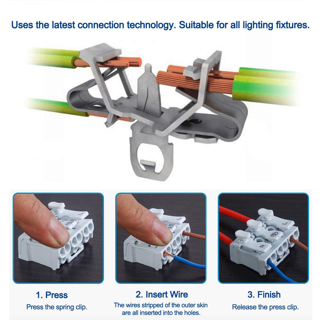 Quick Wire Connector Terminal Barrier Block 3 Positions 5pcs uxcell Spring Connectors