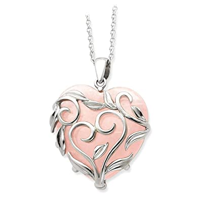 Amazon ice carats 925 sterling silver rose quartz generous ice carats 925 sterling silver rose quartz generous heart 18 inch chain necklace slove aloadofball Choice Image