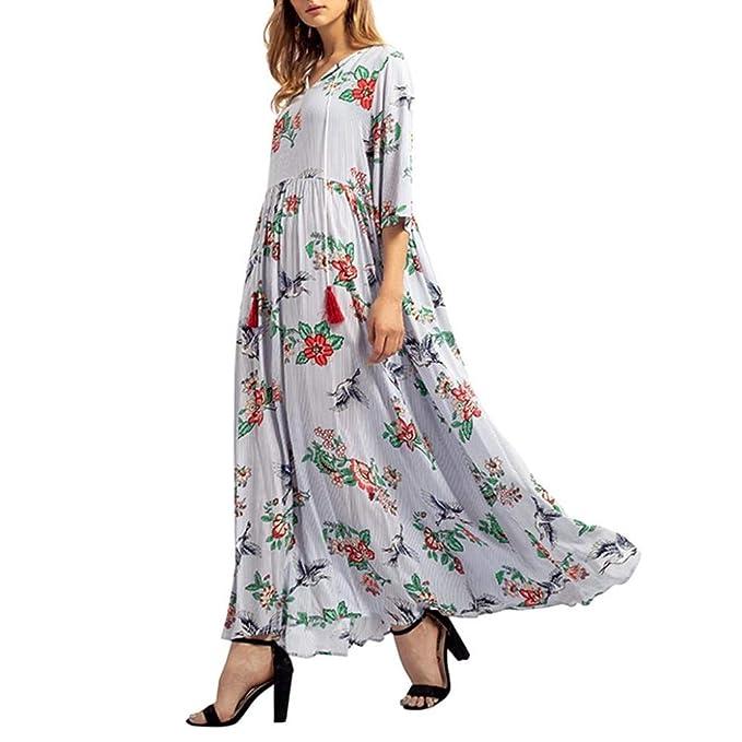 Vestidos Largos De Mujer Elegantes,Moda Media Mangas V-Cuello Floreada Diario Casual Cómodo