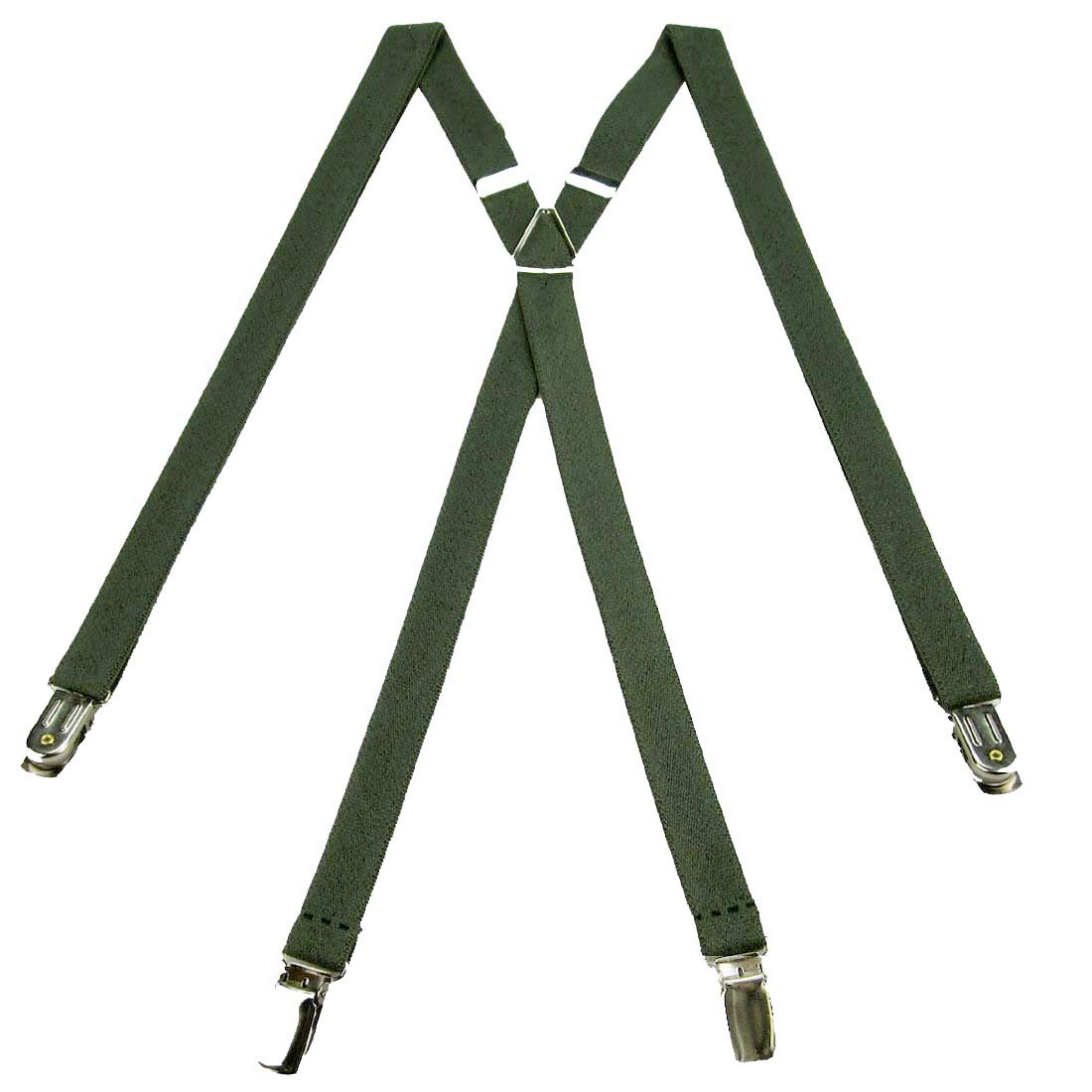 SUS-703-OLIV - Olive Green - Skinny Solid Suspender for Men Made in USA X-Back Metal Trimmed clip end narrow tuxedo suspenders