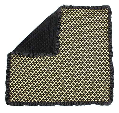 (Dear Baby Gear Baby Blankets, Iron Gate Gold on Black, Black Minky)