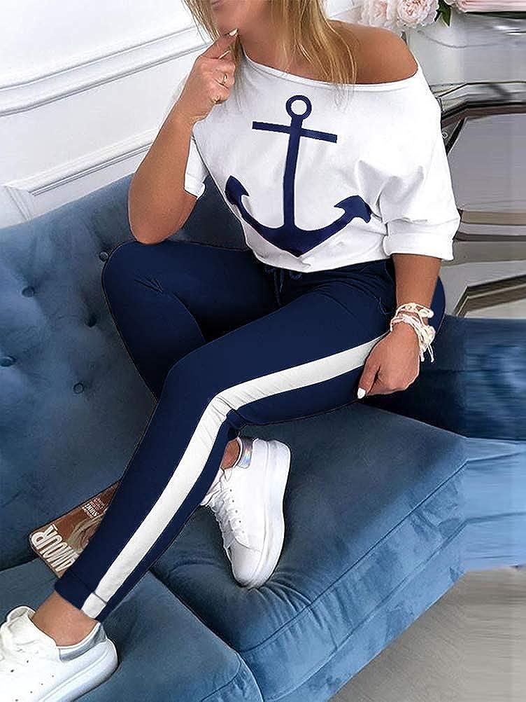 Reizvolle Bodycon Paket H/üfte Hosen Beil/äufig Outfit Sport Bekleidung ORANDESIGNE Damen Mode 2 St/ück Set Outfits Langarm Tr/ägerlos T-Shirt