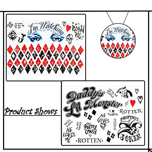 (Temporary Tattoos for Suicide Squad Harley Quinn Joker Halloween Costume Cosplay Props 4)