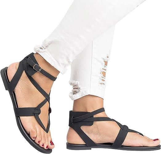 gracosy Sandales Plates Femmes, Chaussures Ville Été en Cuir