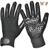 KSHOP Pet Grooming Gloves Enhanced Five Finger Design, For Cats, Dogs & Horses - Long & Short Fur - Gentle De-Shedding Brush - Provide the perfect experience for pets
