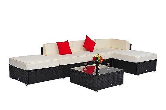 Rattan sofa outdoor  Outsunny 6pcs Deluxe Rattan Sofa Outdoor Wicker Sectional Garden ...