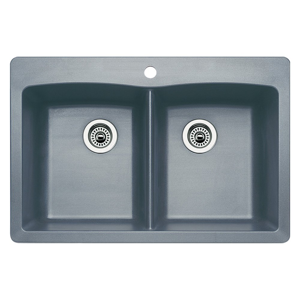 Blanco 440219 Diamond Equal Double Bowl Kitchen Sink, Metallic Gray Finish