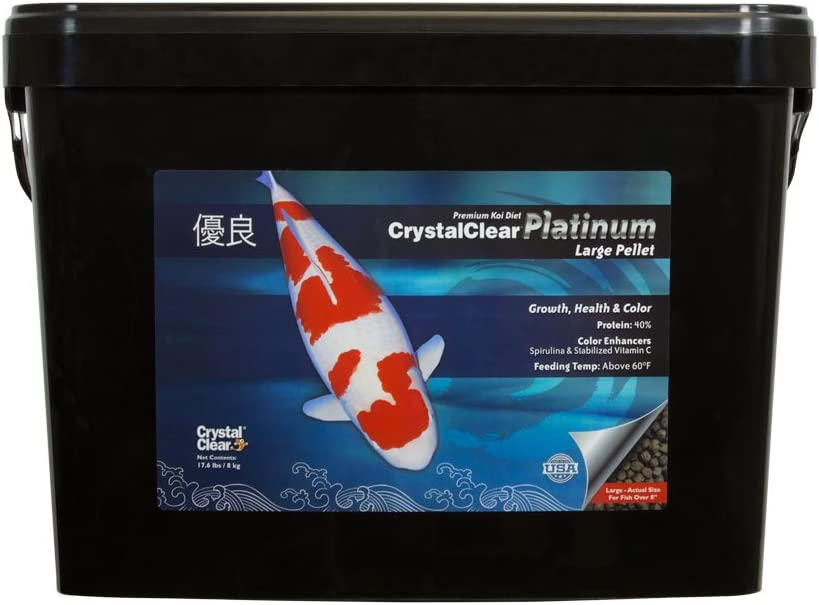 CrystalClear Platinum Rapid Growth Koi Fish Food with Added Vitamins & Spirulina, 5mm Pellets, 17.6 Pounds