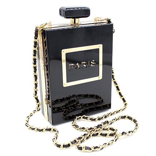 Women Acrylic Black Paris Perfume Shape Evening Bags Purses Clutch Vintage Banquet Handbag