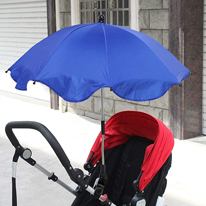 RainBabee Pare-soleils Ombrelles R/églable Anti-UV pour Poussette Landau Parapluie Parasol avec Holder Clip pour Fauteuil Roulant Poussette Dia 65cm