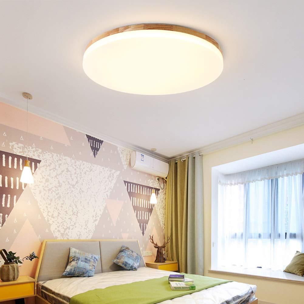 RREN Lighting LED-Deckenleuchte, 5 cm Ultradünne Massivholz-Deckenleuchte, Moderne Minimalistische Runde Runde Runde Eichenholz-Deckenleuchte, Wohnraum Schlafzimmer Küche Diele Innenbeleuchtung 4496ac