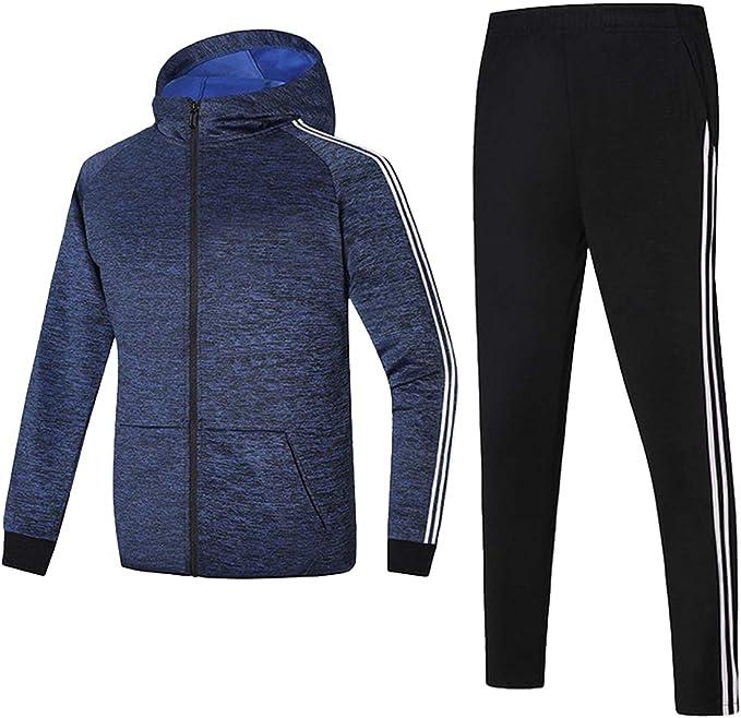 DE Herren Trainingsanzug Winter Fleece Kapuzen Jacke Jogginghose Hose Sportanzug