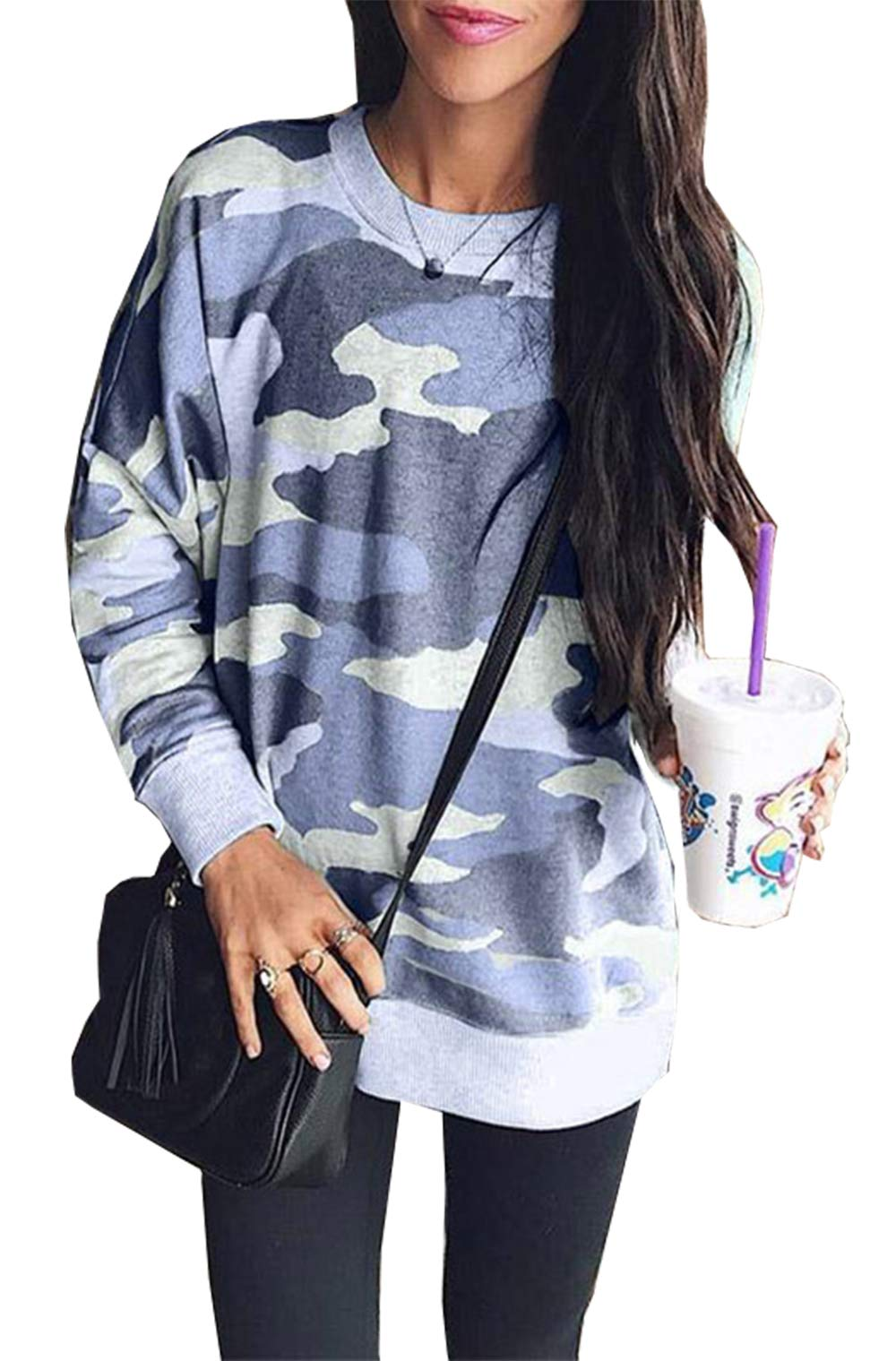 BTFBM Women Camouflage Print Long Sleeve Crew Neck Loose Fit Casual Sweatshirt Pullover Tops Shirts (Blue, X-Large)