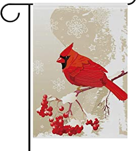 Wamika Winter Garden Flag 12 x 18 Double Sided, Red Cardinal Bird Berries Snowflakes Welcome Holiday Yard Outdoor House Flags Banner Party Home Decor Christmas Decorations