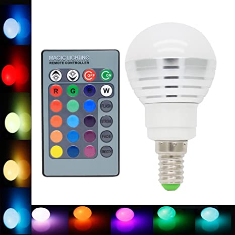E14 Bombillas de Colores 3W LED de Colores 16 Cambio de Color de 120 Grados Cambia
