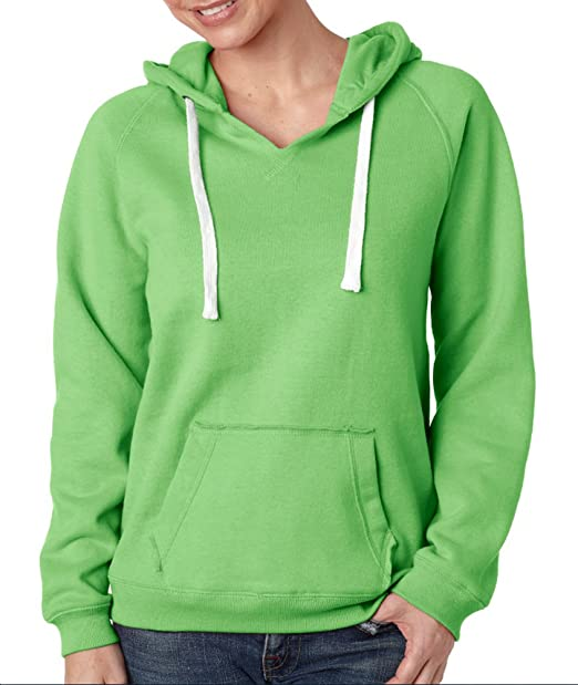 aa0b38e86 J-America Women's Brushed V-Neck Hooded Fleece