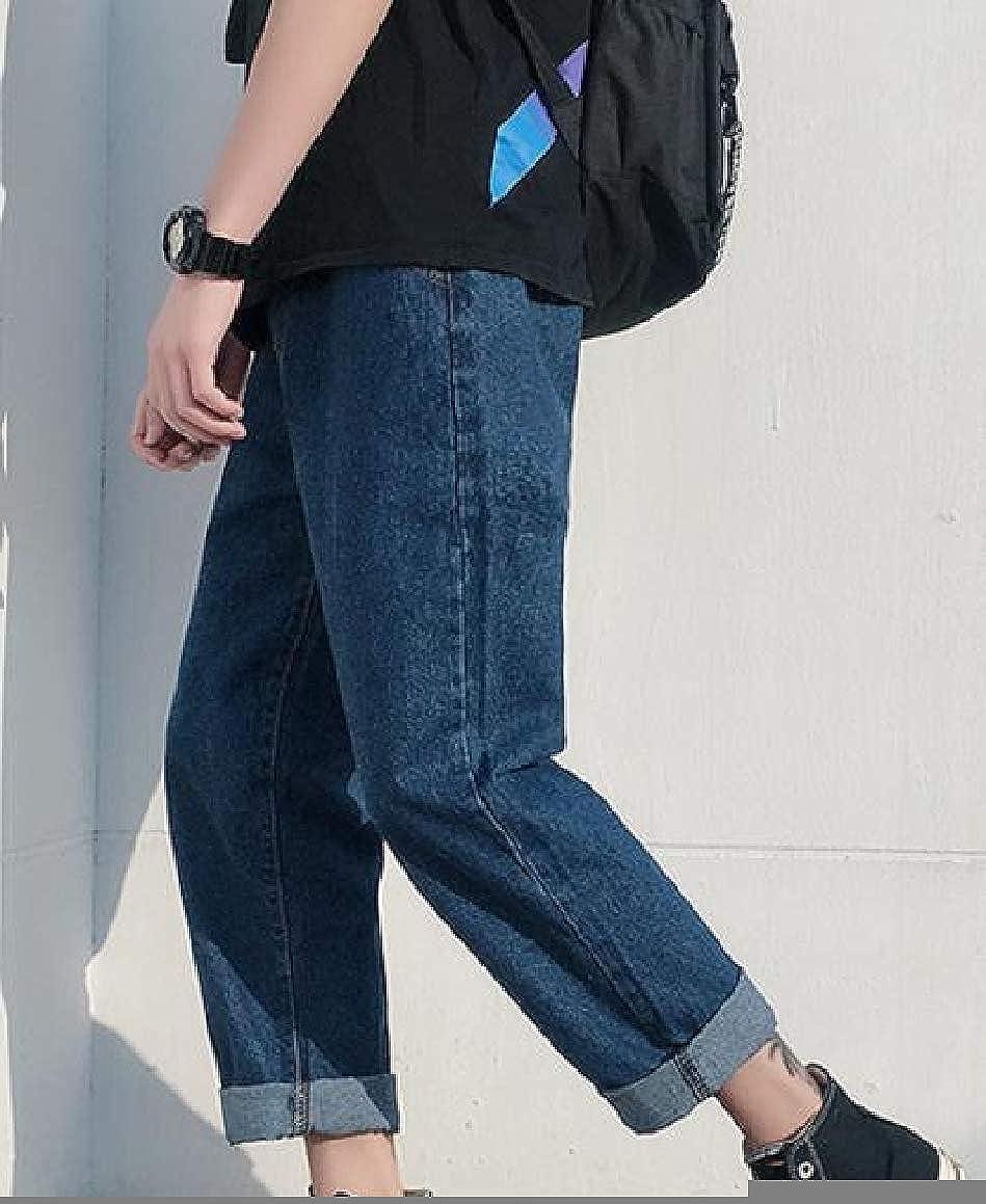 Abetteric Mens Classic Loose Elastic Waist Straight Pants Denim Trousers