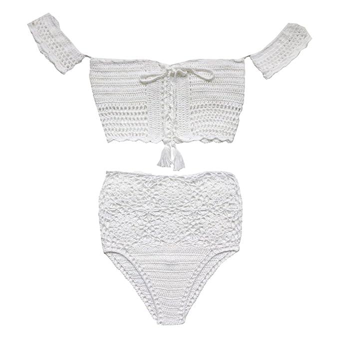 b1aede541a BAOBLADE Boho Women Ladies Bandage Bikini Set Crochet Swimsuit White Lace  up High Waist Bathing Suit Swimwear S-L