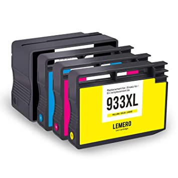 4 LEMERO Cartuchos de Tinta Compatible para HP 932XL 933XL para HP ...