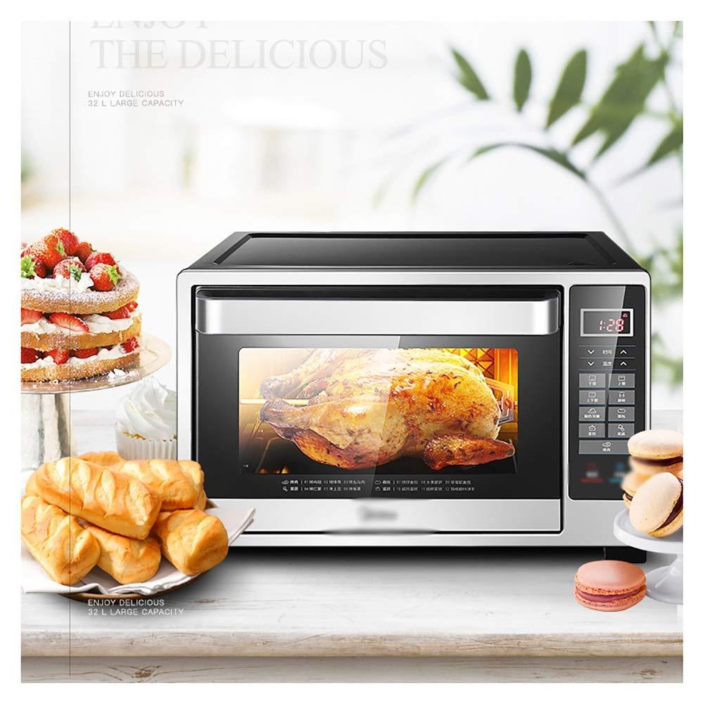 HARDY-YI 二重ホットプレートが付いているグリル32L電気オーブンが付いているオーブン小型オーブン、複数のプリセット機能が付いている有能な上炊事道具、黒  B07QPF41R9