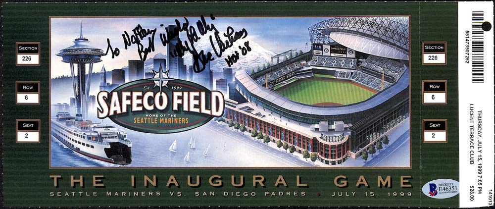 Dave Niehaus Signed Auto 5x12.5 1st Game Safeco Field Ticket Seattle Mariners To Nathan Best Wishes, My Oh My, HOF 08 Beckett Certified