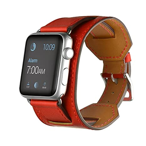 FOTOWELT for Apple Watch Band, Correa de reloj de pulsera correa de cuero muñequera reemplazo