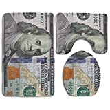 100 Dollar Bill Soft Comfort Flannel Bathroom Mats,Non-Slip Absorbent Toilet Seat Cover Bath Mat Lid Cover,3pcs/Set Rugs