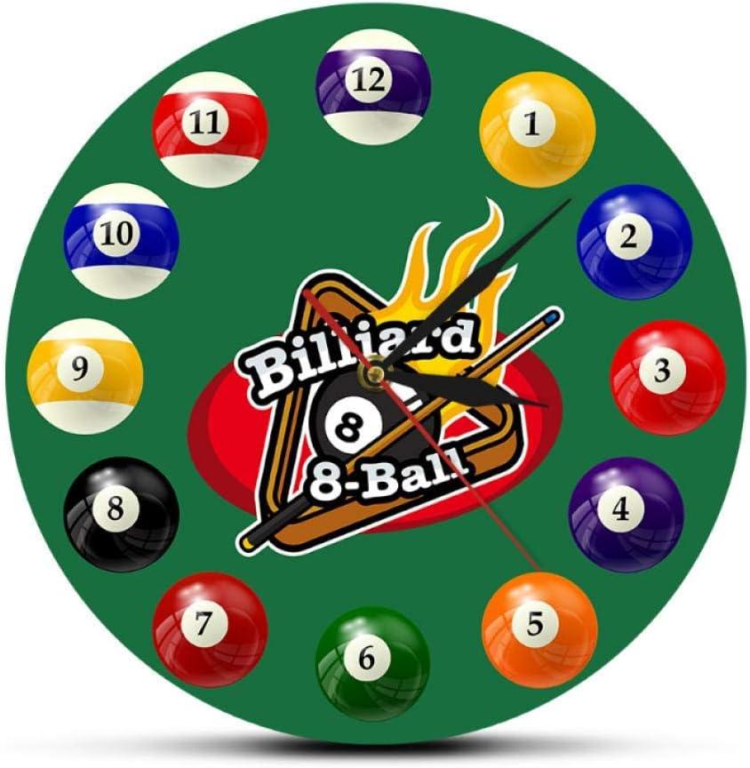 ZYZYY 12 Inches Bolas de Billar Reloj de Pared Colorido Pool Snooker Reloj Deportivo Salón de Billar Decoración de la Sala de Juegos Reloj de Pared Moderno Jugadores de Billar Regalo: Amazon.es:
