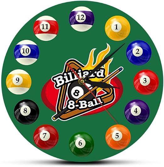 ZYZYY 12 Inches Bolas de Billar Reloj de Pared Colorido Pool ...