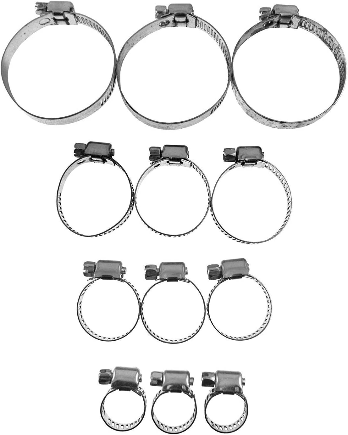 NEW 12 PC HOSE JUBILEE CLIPS CLAMPS ASSORTMENT SET 12PC 6 MM TO 51 MM CLIP KIT PACK 6MM TO 51MM