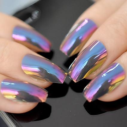 EchiQ - Puntas para uñas de bailarina, holograma, camaleón, forma de coffina,
