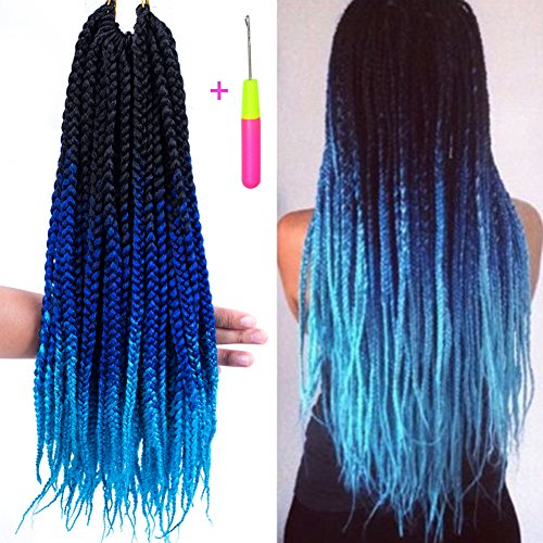 Box Braids Crochet Hair Extensions 120g 20Roots/pcs Kanekalon Three Tone Ombre Braiding Hair Synthetic Crochet Jumbo Box Braids (18 inch 3 pcs, 1b/blue/green)