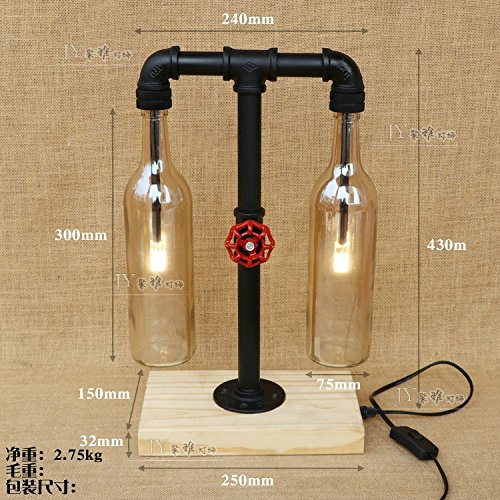 Retro Industrial Wind Water Wooden Base Lamp Restaurant Bedroom Bedside Lamp Gift Table Lamp Table Pipe Iron,Amber bottle
