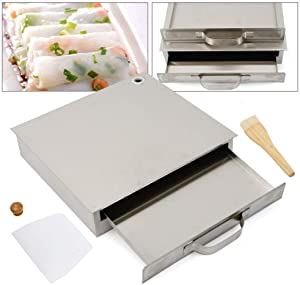 WINUS Cantonese Rice Noodle Rolls Machine, Stainless Steel 1 Layer/ 2 Layer Rice Noodle Roll Steamer, Rice roll Making Machine for Kitchen Cooking Food Household Chinese Cuisine Recipes Cookware (1 Layer) (1 Layer)