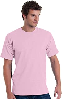 product image for Bayside Men's Classic Full Cut Ribbed Knit Tee, Pink